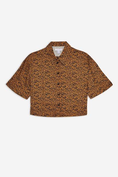 CAIRO Brown Leopard Print Short Sleeve Shirt