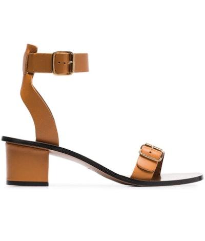 Camel Brown Carmen 45 Leather Sandals