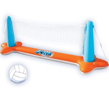 JOYIN Inflatable Pool Float Set Volleyball Net & Basketball Hoops