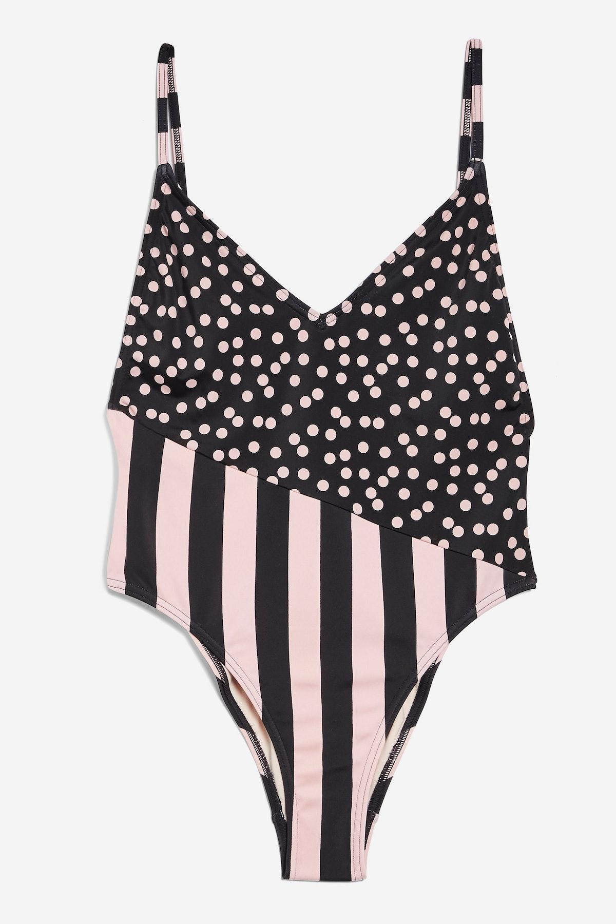 Spot And Stripe Print Swimsuit