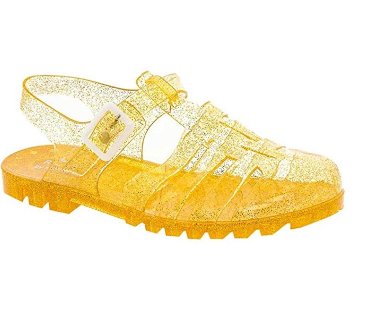 Rasolli Women's Fisherman T-Strap Jelly Flat Buckle Closure Soft Gladiator Sandals