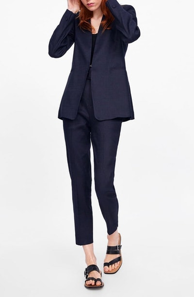 Blazer With Pockets & Cigarette Pants With Ruffled Pockets