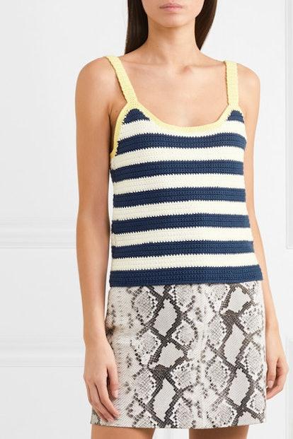 Capo Striped Crocheted Cotton Tank