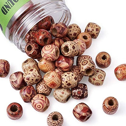 50pcs Assorted Painted Drum Round Wood Beads