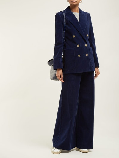 Bianca Double-Breasted Cotton-Corduroy Blazer & Trousers