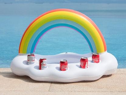 Jasonwell Inflatable Rainbow Cloud Drink Holder Floating Beverage