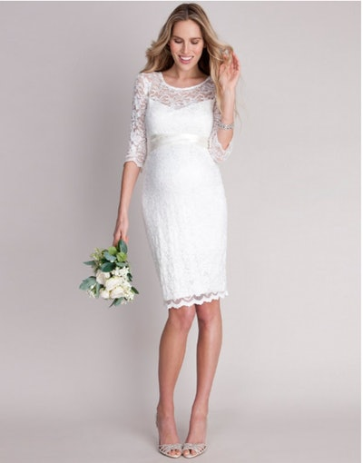 Ivory Lace Maternity Cocktail Dress