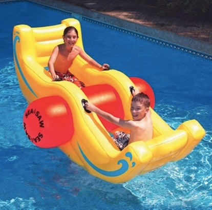 """Swim Central 90"""" Water Sports Inflatable 2-Person Sea-Saw Rocker Swimming Pool Toy - Yellow/Red"""
