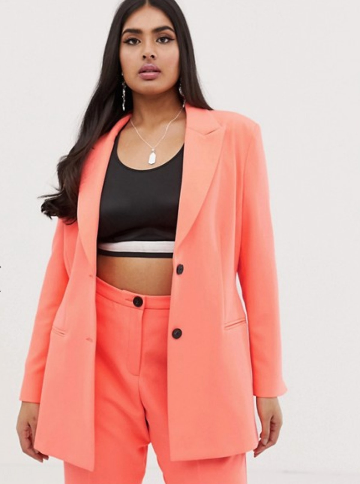 ASOS DESIGN curve fluro pink tapered suit pants