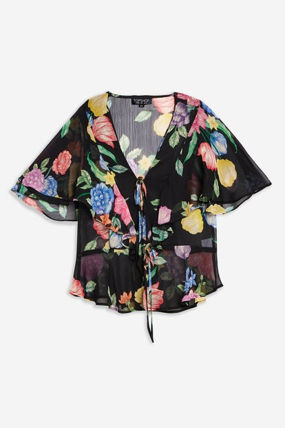 Floral Ruffle Tie Front Top