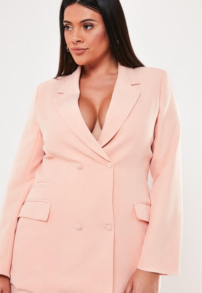 plus size pink co ord double breasted blazer