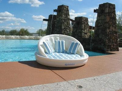 Inflatable White and Blue Striped Floating Swimming Pool Aqua Sofa Lounge Raft, 68-Inch