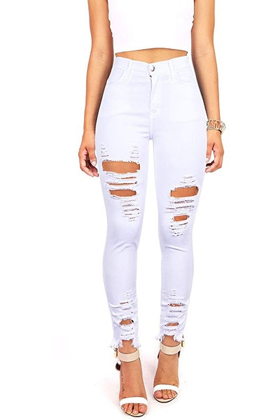 Vibrant High-Rise Distressed Jeans