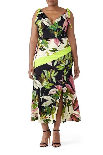 Christian Siriano Hawaiian Print Tie Strap Dress