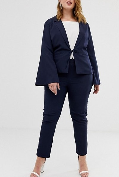 Unique21 Hero Tailored Tie Blazer With Flute Sleeves & Ankle Grazer Pants