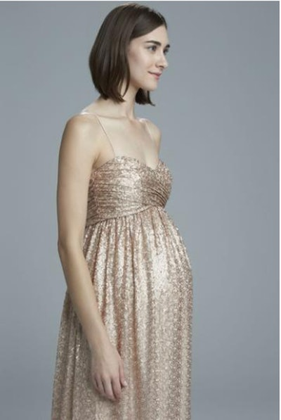 Maternity Bridesmaid Dress with Spaghetti Strap and Sweetheart Neckline