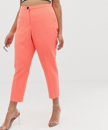 ASOS DESIGN curve fluro pink tapered suit pants