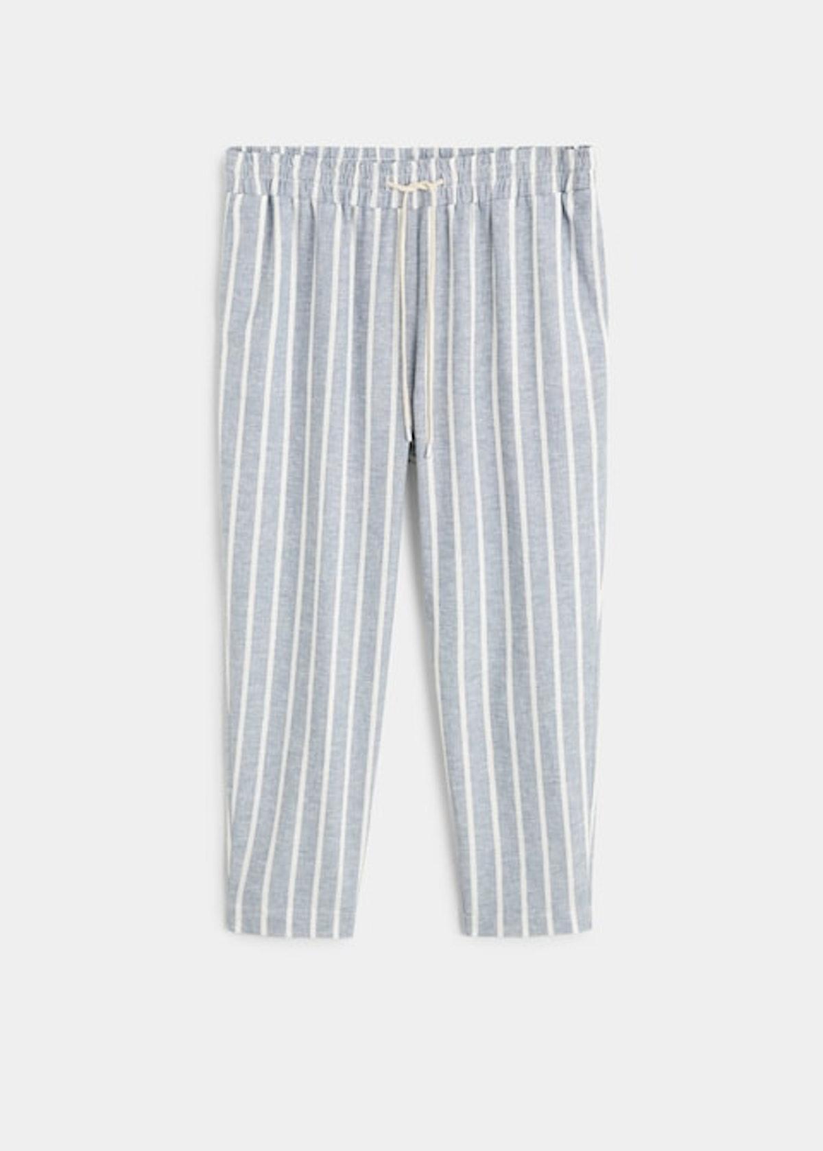 Striped linen-blend trousers
