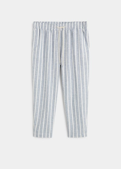 Striped linen-blend trousers