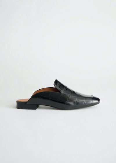 Slip On Croc Embossed Leather Loafers