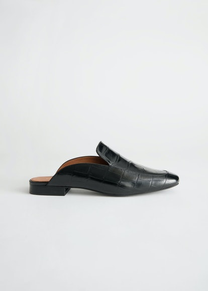 Slip On Croc Embossed Leather Loafers