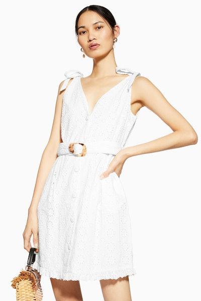 Broderie Buckle Mini Dress