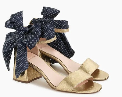 Penny Ankle Strap Sandals In Metallic Leather With Scarf tie