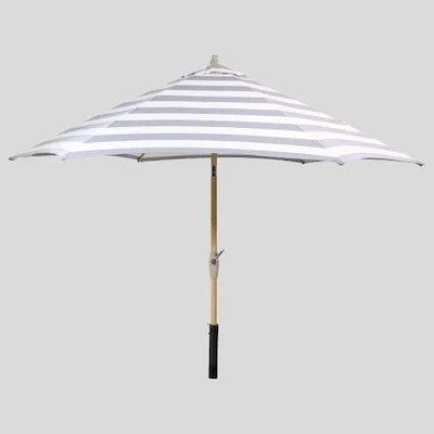 9' Round Cabana Stripe Patio Umbrella - Light Wood Pole - Threshold™