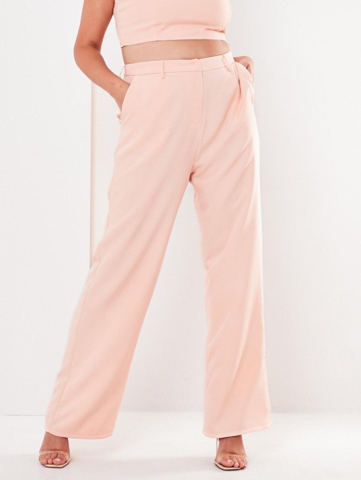 plus size pink co ord straight leg pants