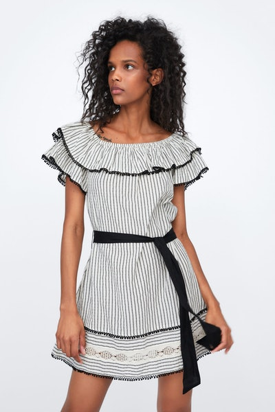 Belted Dress With Ruffles