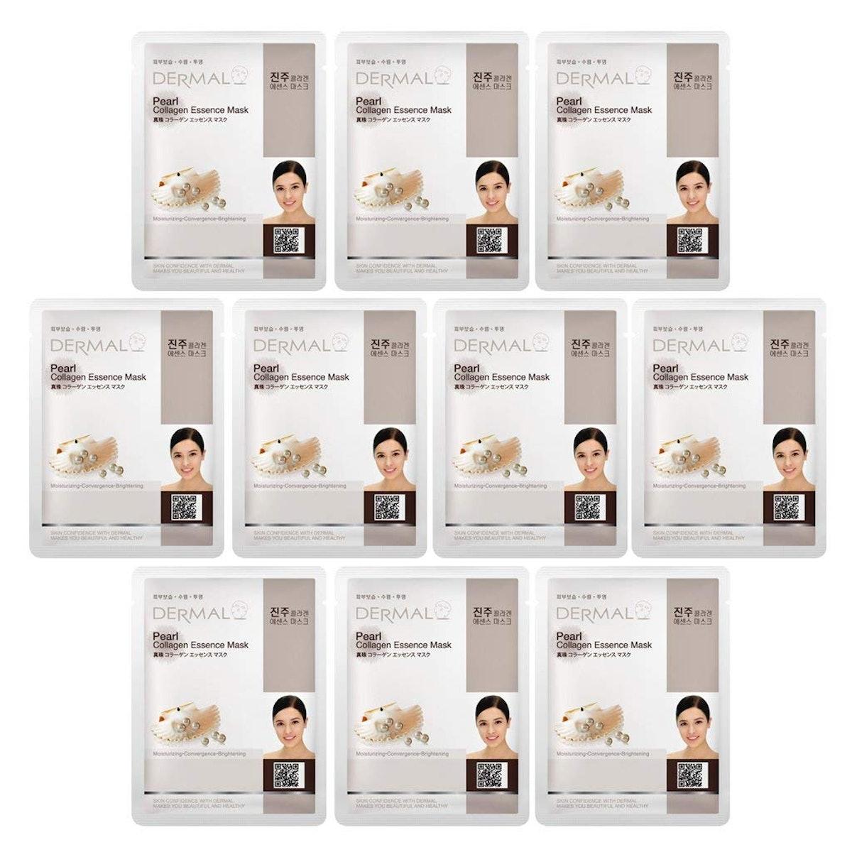 Dermal Pearl Collagen Essence Facial Mask Sheet Set (10 Pack)