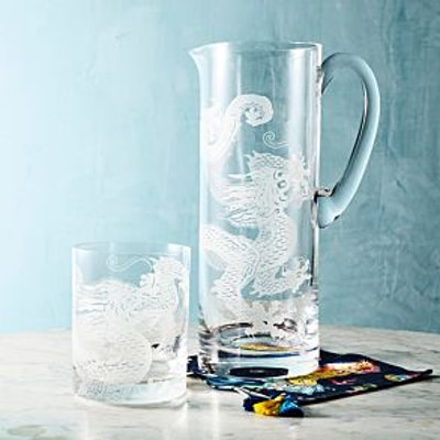 Dragon Etched Old-Fashioned Glass Set