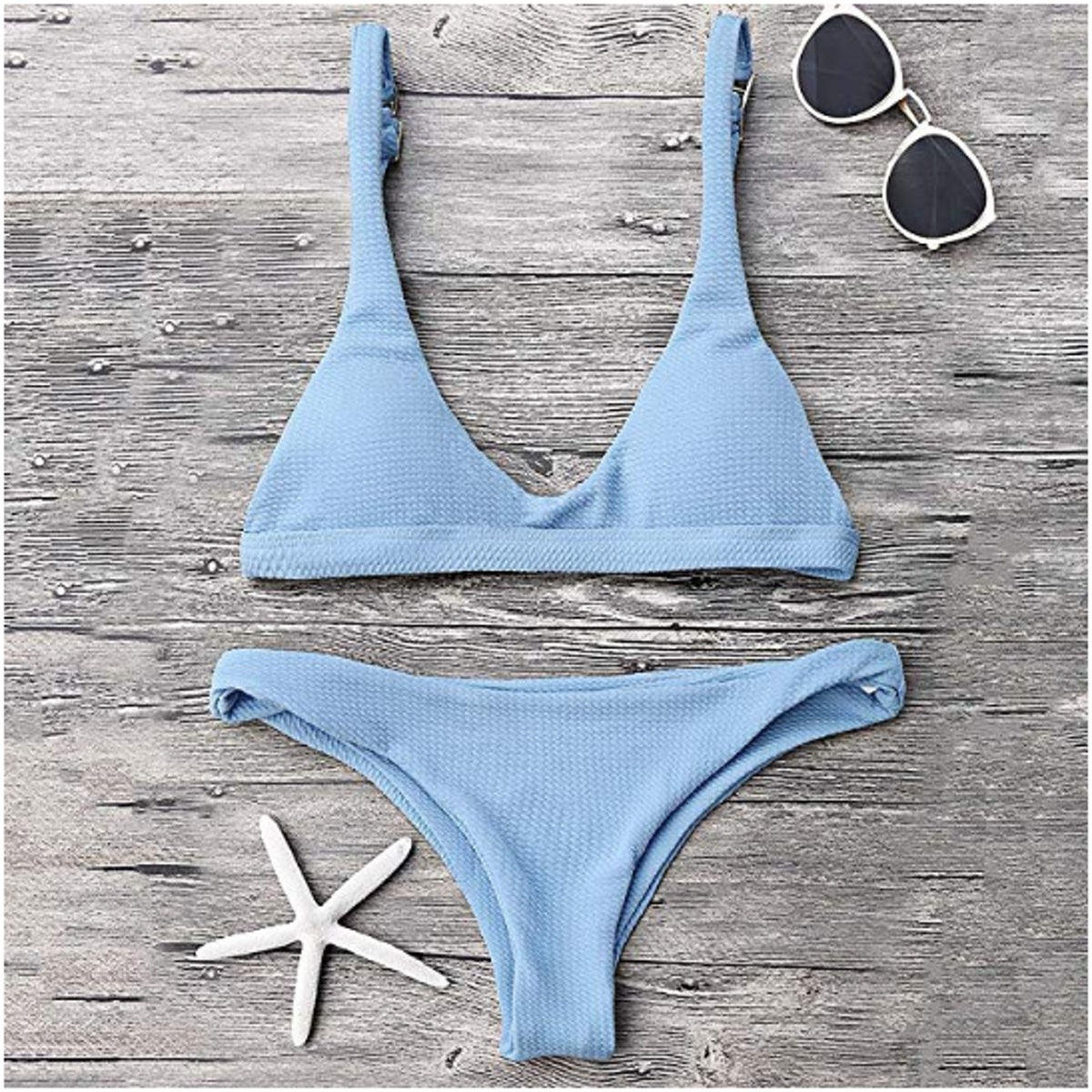 ZAFUL Women Padded Scoop Neck 2 Pieces Push Up Swimsuit Revealing