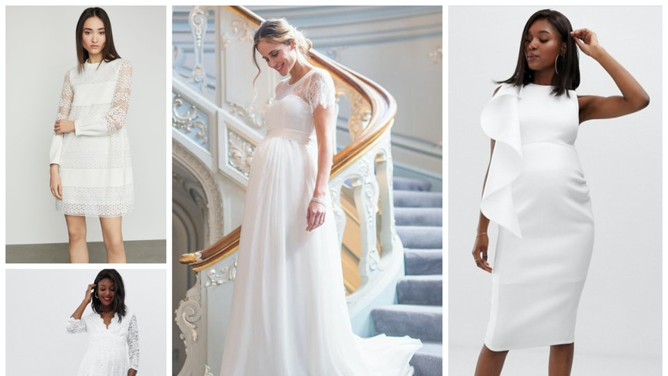 316b6b5aebb64 15 Wedding Dresses For Pregnant Women That Will Make You Glow Even More