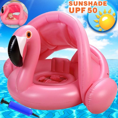 Flamingo Baby Swimming Ring with Canopy