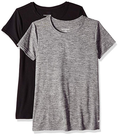 Amazon Essentials Women's Tech Stretch Short-Sleeve Crewneck T-Shirt (2-Pack)