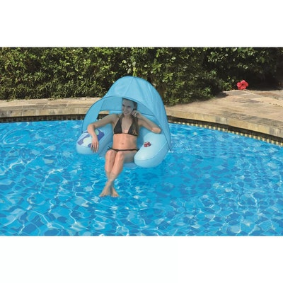 Inflatable 1-Person Swimming Pool Lounge Chair with Shade Canopy