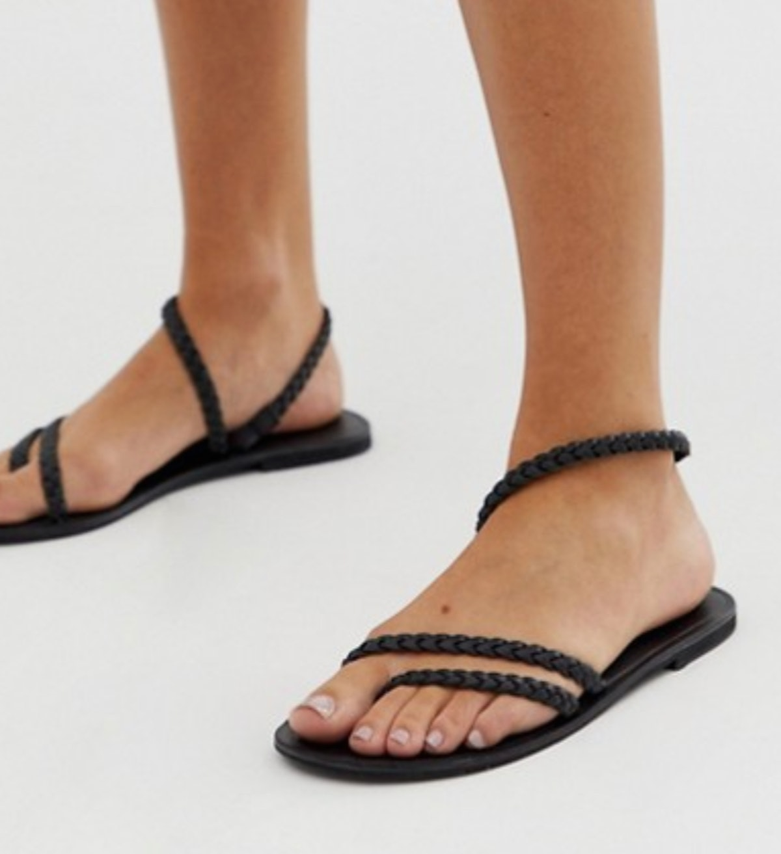 ASOS DESIGN Forecast leather asymetric flat sandals