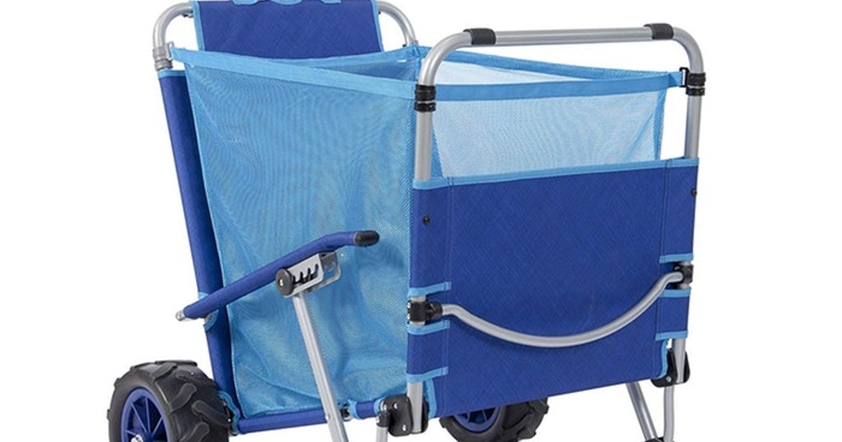 This Folding Beach Chair Cart Is Going To Save You This