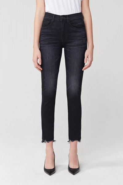 W3 Straight Authentic Crop High Rise Jean - Black Shake