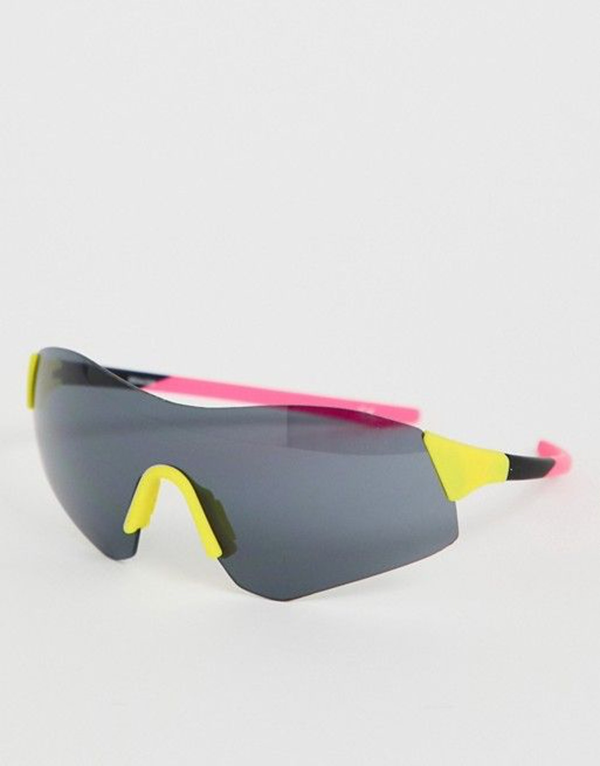 ASOS DESIGN Half Frame Color Block Visor Fashion Glasses in Neon