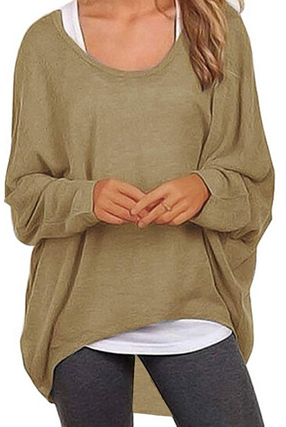 UGET Women's Casual Oversized Baggy Off-Shoulder Sweater