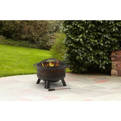 Steel Fire Pit in Black with Poker