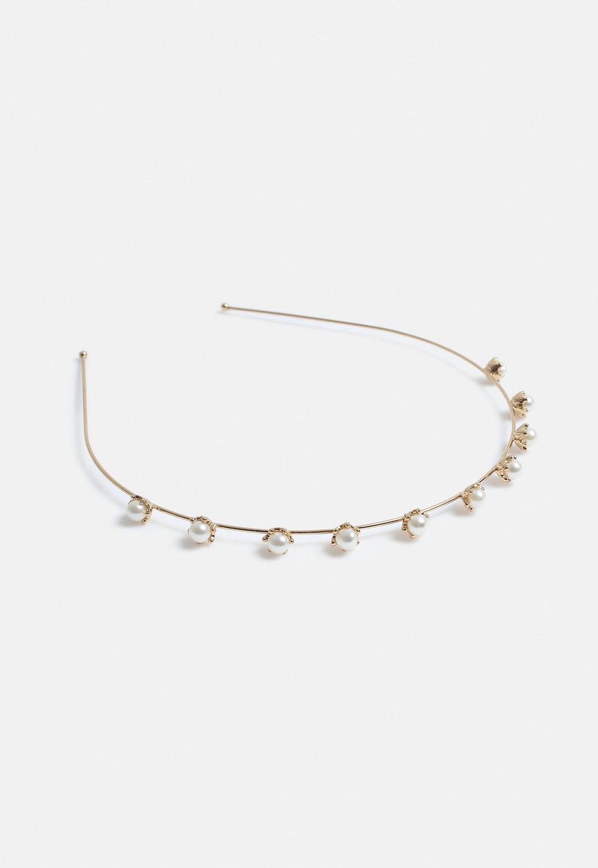 Gold Look Pearl Embellished Headband