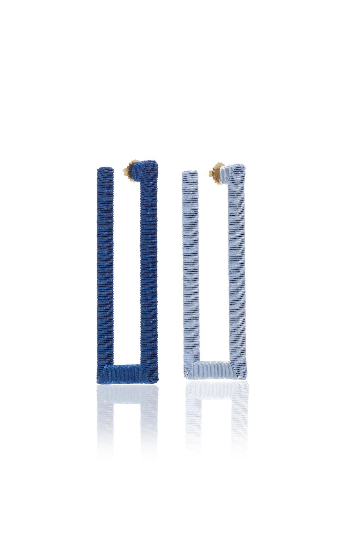 Geo Silk Gold-Plated Hoop Earrings