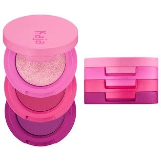 Kaja Beauty Bento Bouncy Shimmer Eyeshadow Trio in Hella Azalea
