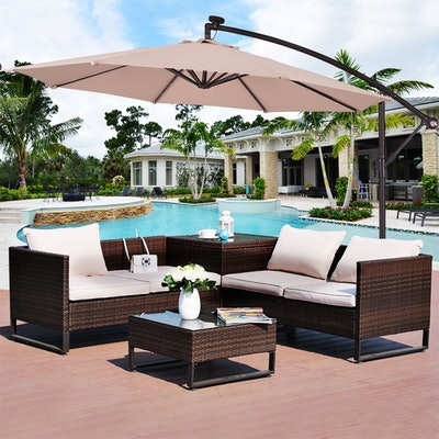 Costway 10' Hanging Solar LED Umbrella
