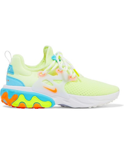 React Presto Neon Suede And Rubber-Trimmed Mesh Sneakers