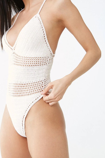 Crochet Lace-Up One-Piece Swimsuit