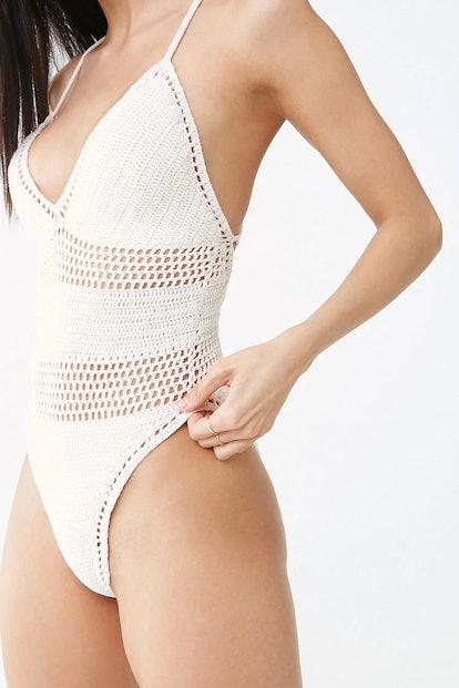 Crochet Lace-Up One-Piece Swimsuit